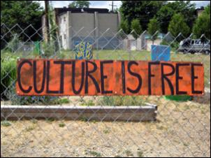 Garden sign: CULTURE IS FREE