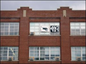 Black Panther and 419 Banners hung on MICA's Fox Building